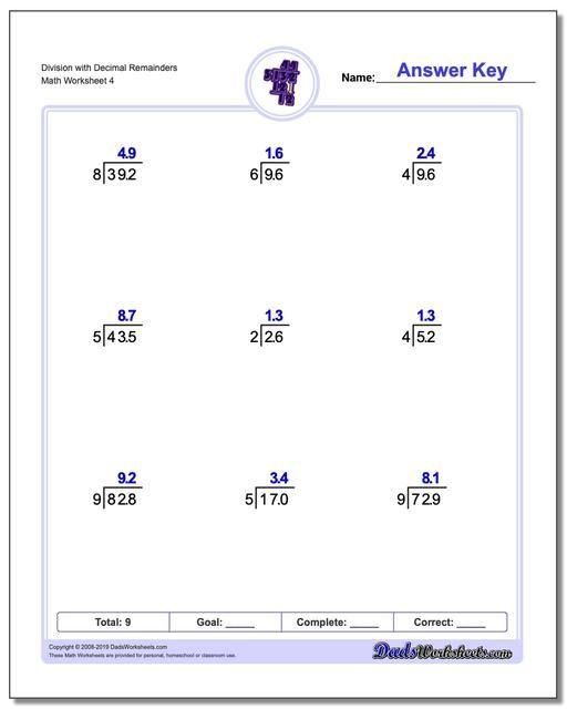 Https Www Dadsworksheets Com Division Worksheet With Decimal Remainders Division Worksheets Teaching Division Decimals Easy long division worksheets grade 3