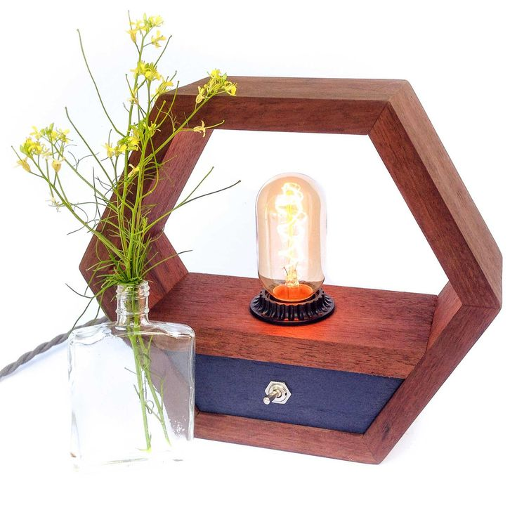 Hexagon Edison Lamp with Blue Switchboard, Tropical Black Walnut