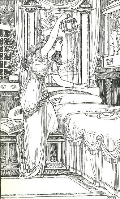 Eva Looking At The Portrait illustrated by H. Granville Fell, from the book Wagner's Heroes
