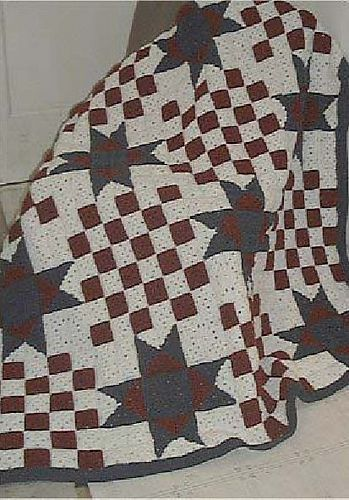 County Fair ~ quilt-inspired crochet blanket, *free* pattern by C.L. Halvorson.  Generous size for taller folks at 68 x 85 inches. 432 (2.75-inch) blocks; 12 skeins (37 oz white, 26 oz burgundy, 11 oz navy) with H hook   . . . .   ღTrish W ~ http://www.pinterest.com/trishw/  . . . .   #afghan #throw #layout