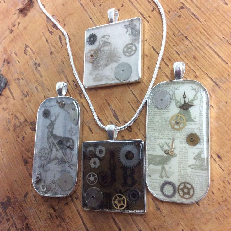 New steampunk resin pendants