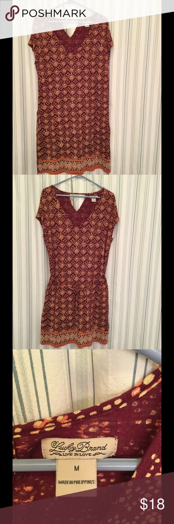 Lucky Brand T shirt Dress Lucky Brand T shirt Dress, purchased from Lucky Outlet, Size M, you can wear with or without belt. It's a big M,  length is 37 in, very comfortable, only worn a few times, great condition Lucky Brand Dresses