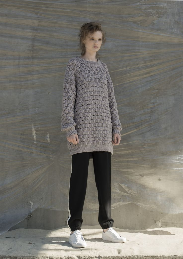 Anna Dudzińska, NATURAL THING, aw2016, sweater FINKO. To download high or low resolution product images view Mondrianista.com (editorial use only).