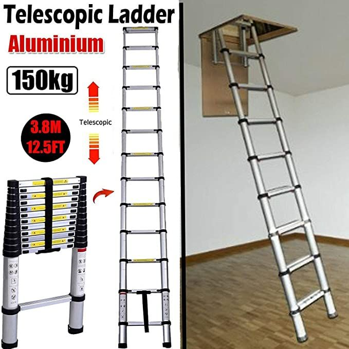 Amazon Com 3 8m 12 5ft Aluminum Telescoping Collapsible Roof Climbing Ladder For Home Loft Attic Ladder En131 Automotive In 2020 With Images Ladder