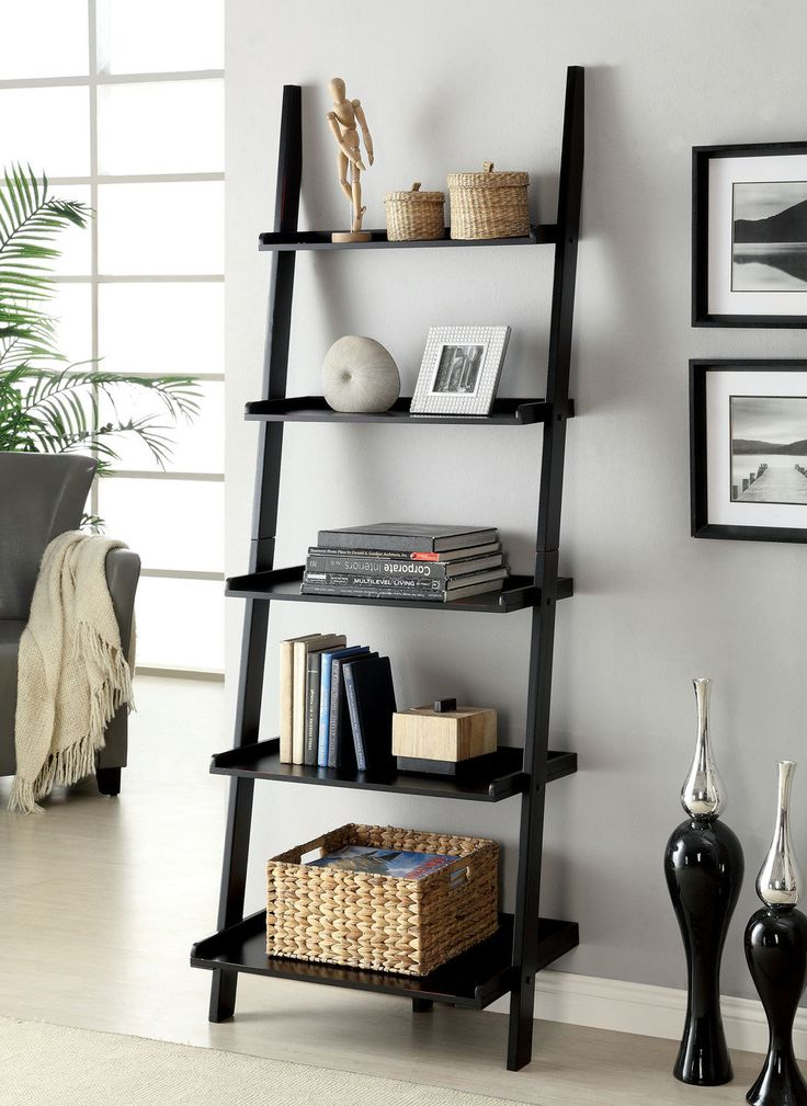 "SION $90  This unique ladder style accent piece has five shelves for display. Choose from either cherry, white, or black finish.  BLACK LADDER SHELF [CM-AC6213BK]  25""W X 18""D X 72""H  Contemporary Style  5-tier Ladder Shelf  Solid Wood, Wood Veneer & Others*  Available in 3 Colors"