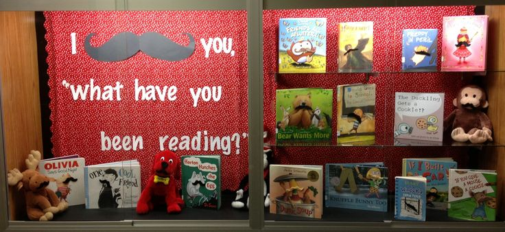 Bulletin board. Reading. Library. Mustache. Library bulletin board. Back to school. Standing Bear Elementary Library 2013-2014. Omaha
