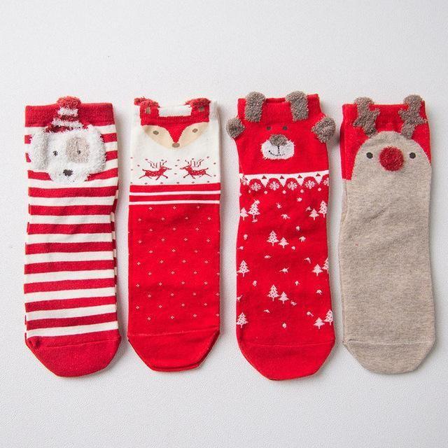 Caramella Christmas/New Year Gift red cute cartoon animal cotton socks ladies straight sock 4pair/lot