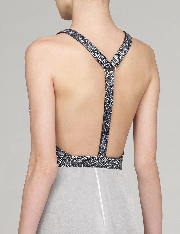 Grey Leather and Silk Chiffon Gown | Manuela Dack | Avenue32