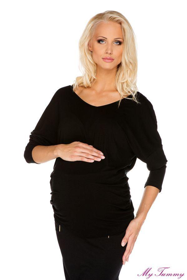 Bluzka ciążowa Margaret czarna z koronką