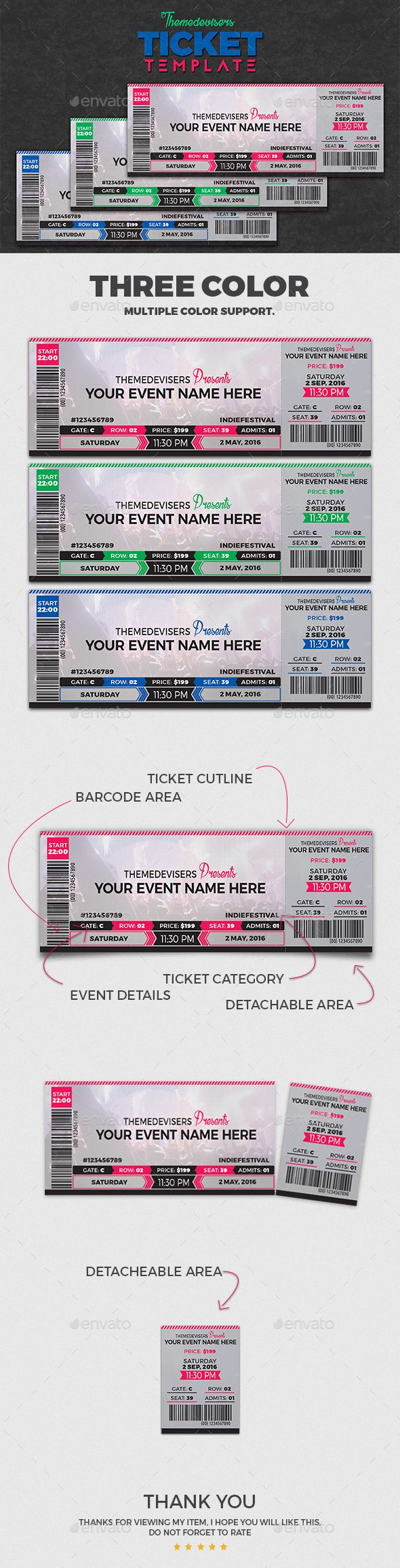 Concert / Event Ticket Template Can be used for an innovative Event invitation Card as well- Be creative.  Download http://graphicriver.net/item/concert-event-ticket/15815529?ref=themedevisers