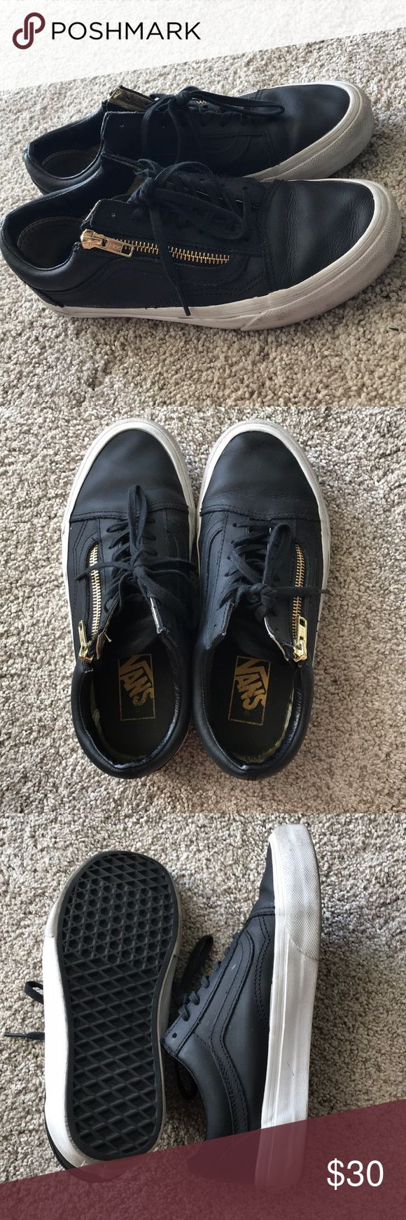 Leather Vans Slightly used black leather old school vans. Make an offer no trades Vans Shoes Sneakers