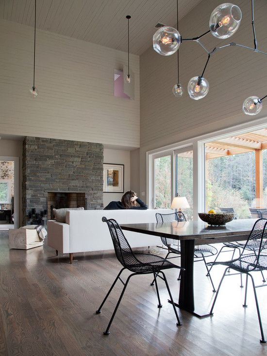 Modern Rural House Design with Green Surroundings: Exciting Open Floor Dining Living Room Bug Acres Of Woodstock