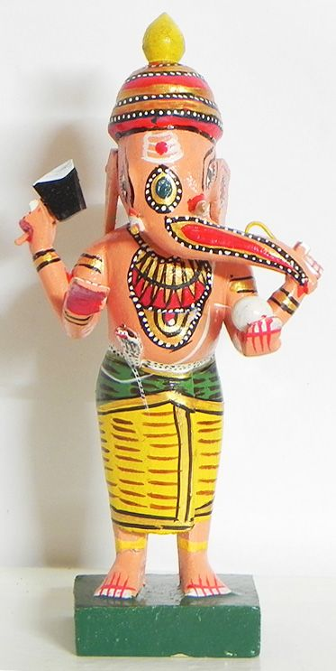 Lord Ganesha Wearing Yellow Dhoti -Kondapalli Doll (Wood))