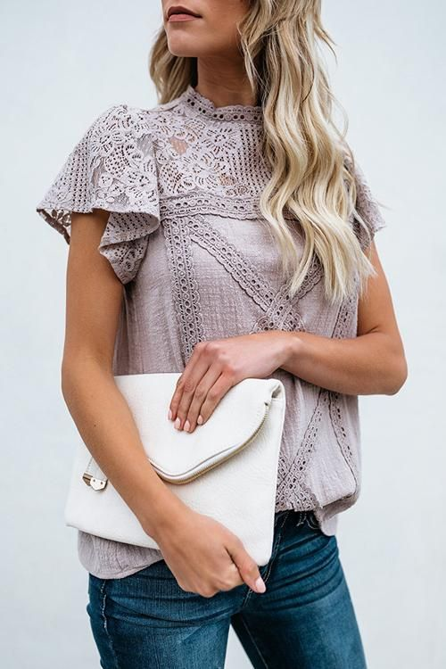 adeed30581df1b Not So Secret Lace Overlay Ruffle Top - 3 Colors in 2019 | Beetsweeti's Tops  | Lace, Lace shorts, Short sleeve blouse