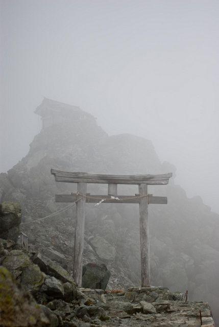 Mist covered shrine on Tateyama, Japan