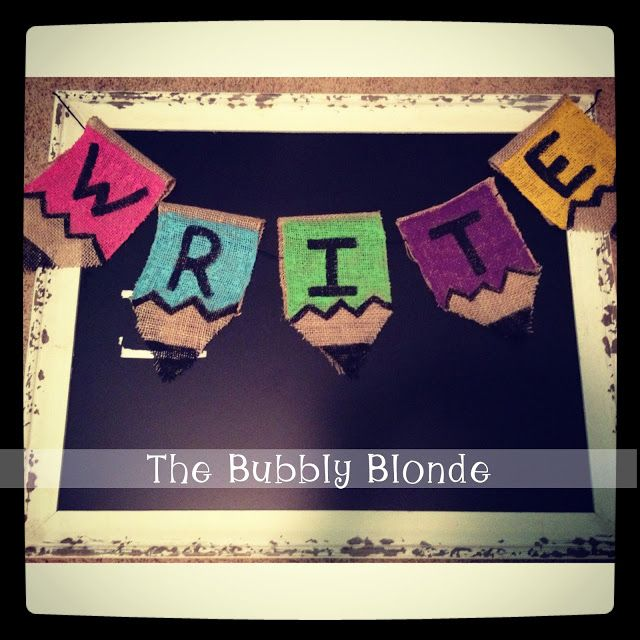 This is a fun way to label and decorate your classroom areas. Burlap+acrylic paint=cuteness!
