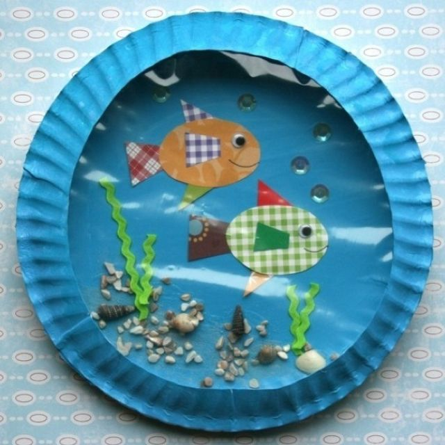 Preschool Craft... This is one of my favorate go to kid crafts.  I have the children collect dried grass sand, pebbles sticks ect.  I cut out various. Sea critters. Then let them Kane their own ocean scene.  It always turns out and looks wonderful.  Btw it works out much better when you don't show the children the adult version, but let them come to their own idea on what it should look like.  Jc.