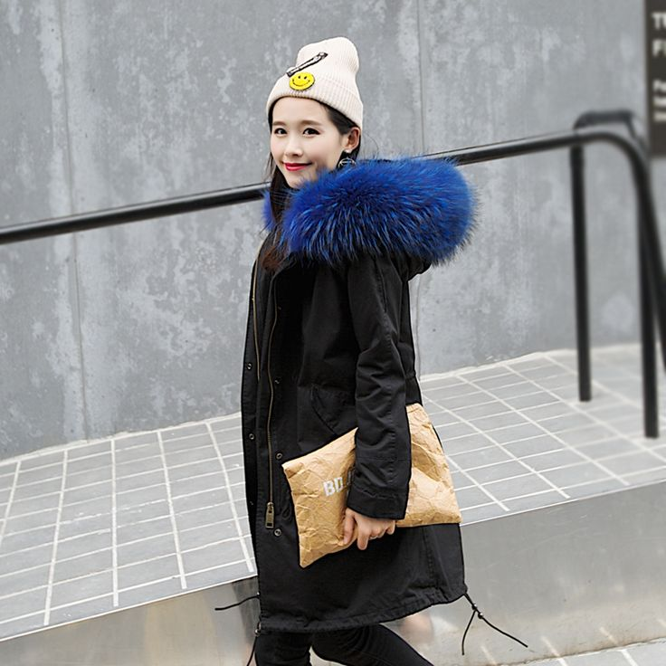 154.70$  Watch here - http://ali744.worldwells.pw/go.php?t=32742157576 - 2017 New Winter Real Raccoon Fur Jacket Women's Plus Size Long Thick Parker Coat With Large Fur Hooded