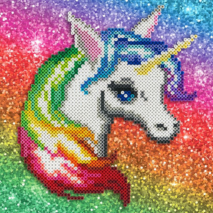 This pretty Perler rainbow unicorn is perfect for a little girl's room!