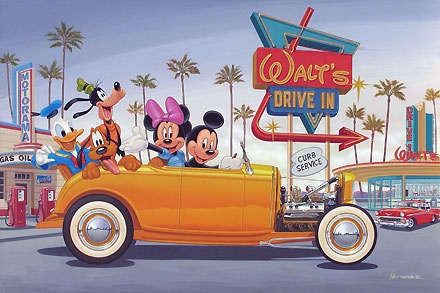 Mickey Mouse - Yellow Coupe - Manny Hernandez - World-Wide-Art.com - $495.00