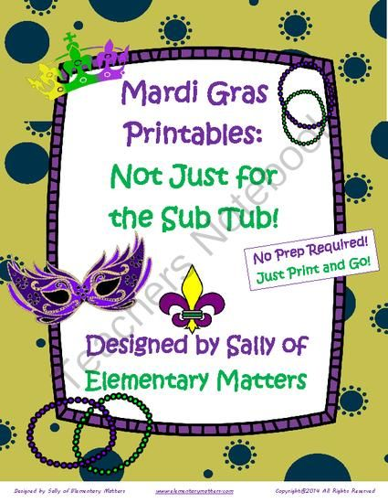 Mardi Gras Printables  Not Just For The Sub Tub  From