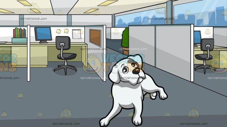 An Intrigued Boxer Dog With Office Cubicles Background:  A dog with white fur droopy ears short tail and black nose rests on the floor while curiously looking ahead and An office with cubicles and white dividers gray swivel chairs paneled ceiling gray floor beige desks with gray monitors
