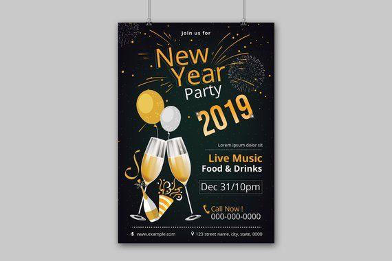 New Year Party Flyer Template 2021 Printable New Year Party Etsy Party Flyer Flyer Template New Years Party