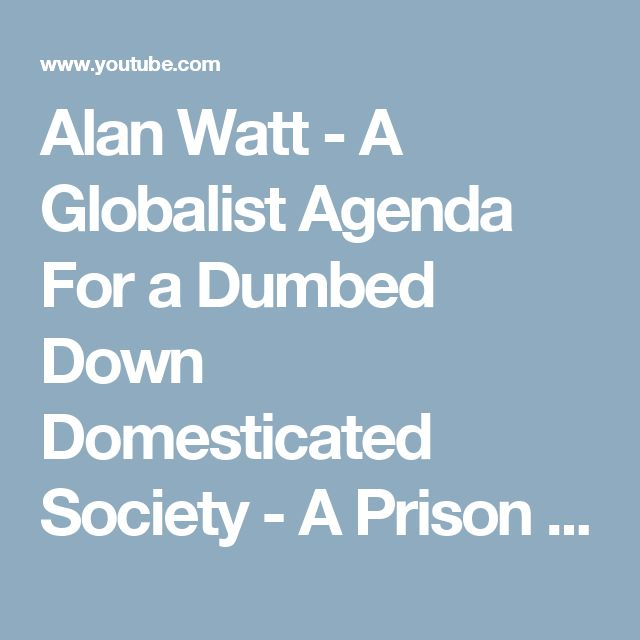 Alan Watt - A Globalist Agenda For a Dumbed Down Domesticated Society - A Prison Planet special - YouTube