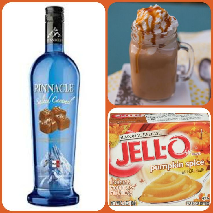 Salted Caramel Pumpkin Pudding Shots  1 small Pkg. pumpkin spice instant pudding ¾ Cup Milk 3/4 Cup Salted Caramel Pinnacle Vodka 8oz tub Cool Whip  Directions 1. Whisk together the milk, liquor, and instant pudding mix in a bowl until combined. 2. Add cool whip a little at a time with whisk. 3.Spoon the pudding mixture into shot glasses, disposable shot cups or 1 or 2 ounce cups with lids. Place in freezer for at least 2 hours