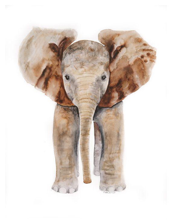 Elefanten Kunstdruck Elefant Safari Kinderzimmer von TinyToesDesign