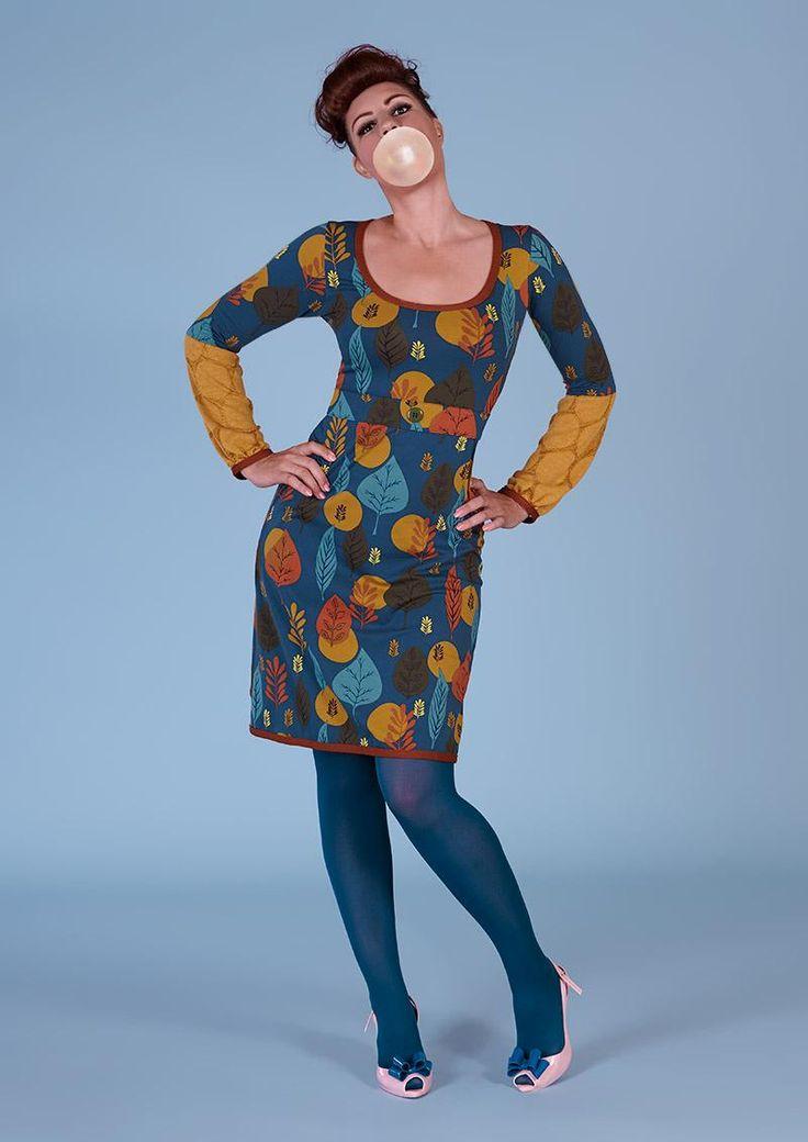 Margot kjole MELANIE HAVELOCK 00556   Margot kjole med blade hos denckerdeluxe.dk str. L