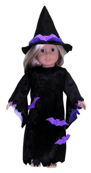 There is nothing spookier than a Witch at Halloween and this easy to make Witches Costume for your American Girl Doll is super spooky with the addition of freaky bats. This pattern includes the Witches Dress, Witches Hat and a template for the freaky bats.    Download and print the pattern pieces and instructions and get LIFETIME access to video instructions with Rosie showing you step-by-step how to create this wonderful outfit