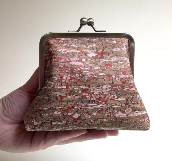 Speckled Red Clutch Purse  Small  Cork