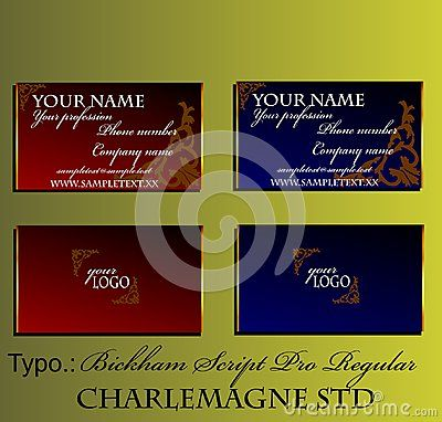 Decorative business card with gold texture, brown baroque frame and white sample text. Vector illustration. Dark red and blue with gradient.