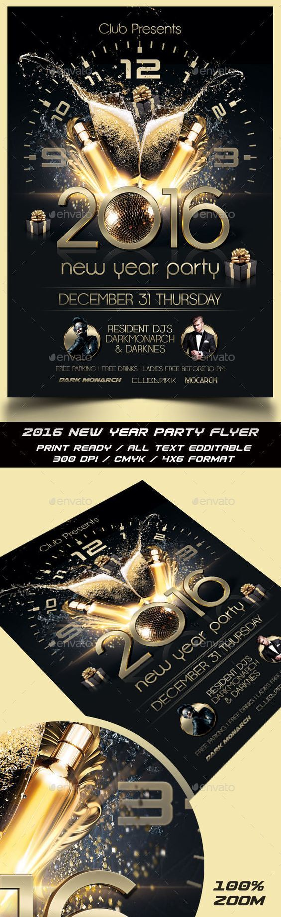New Year Party Flyer Template PSD #design Download: http://graphicriver.net/item/new-year-party-flyer/13914666?ref=ksioks: