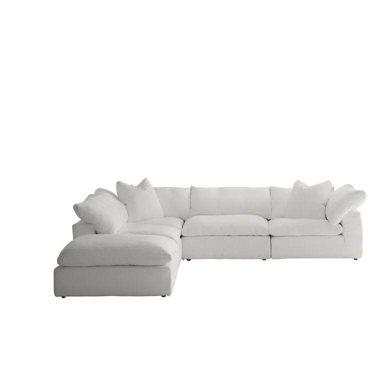 Truman Sectional Sofa in White Linen