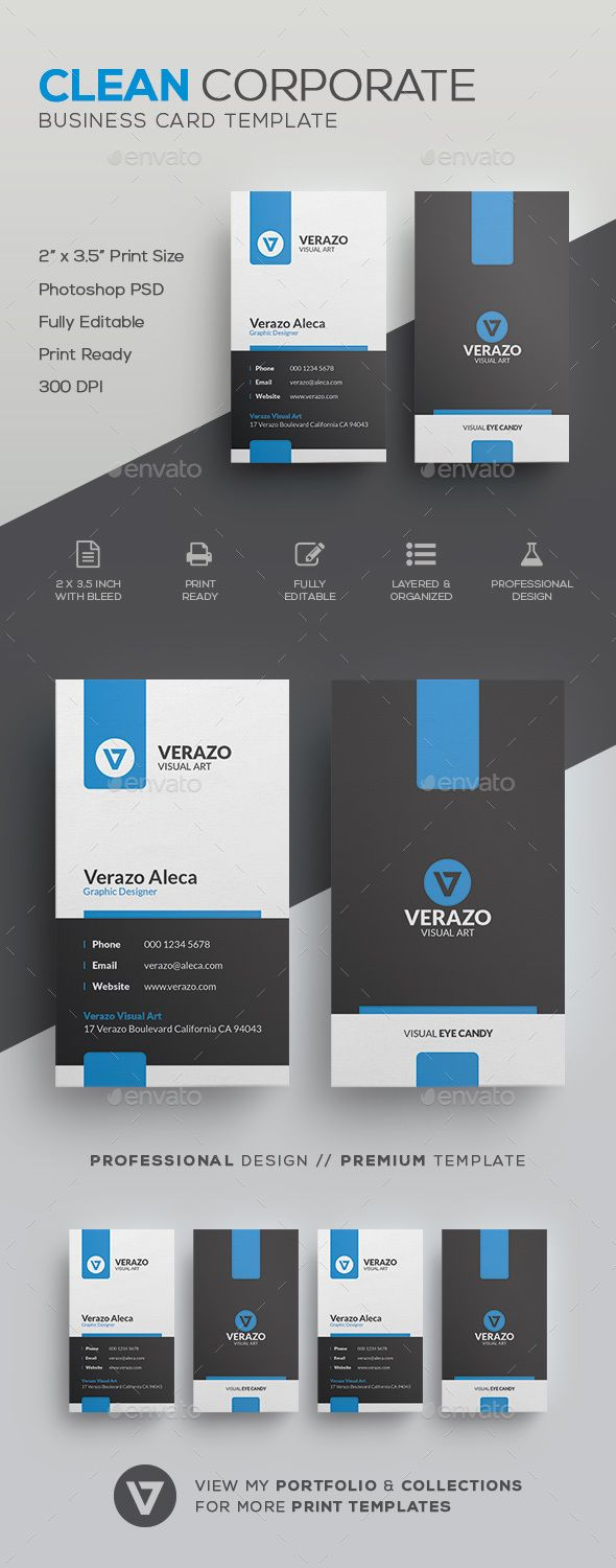 Clean Corporate Business Card Template by verazo Need more high quality business card? View my Business Card Templates Collection OR Save Money! Buy Business Card Bundle for only