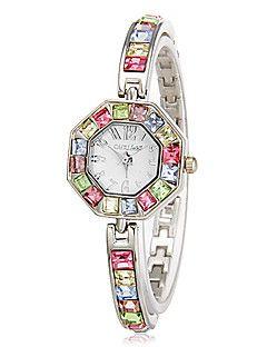 Γυναικεία πολύχρωμο Diamante Πολύγωνο Dial χαλαζία Αναλογικό ρολόι βραχιόλι