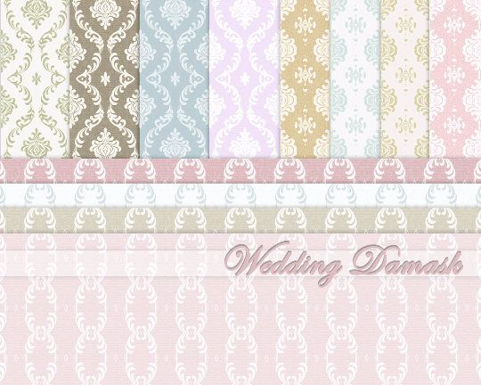 Wedding Digital Paper in Pink Blue Ecru Ivory Damask Digital