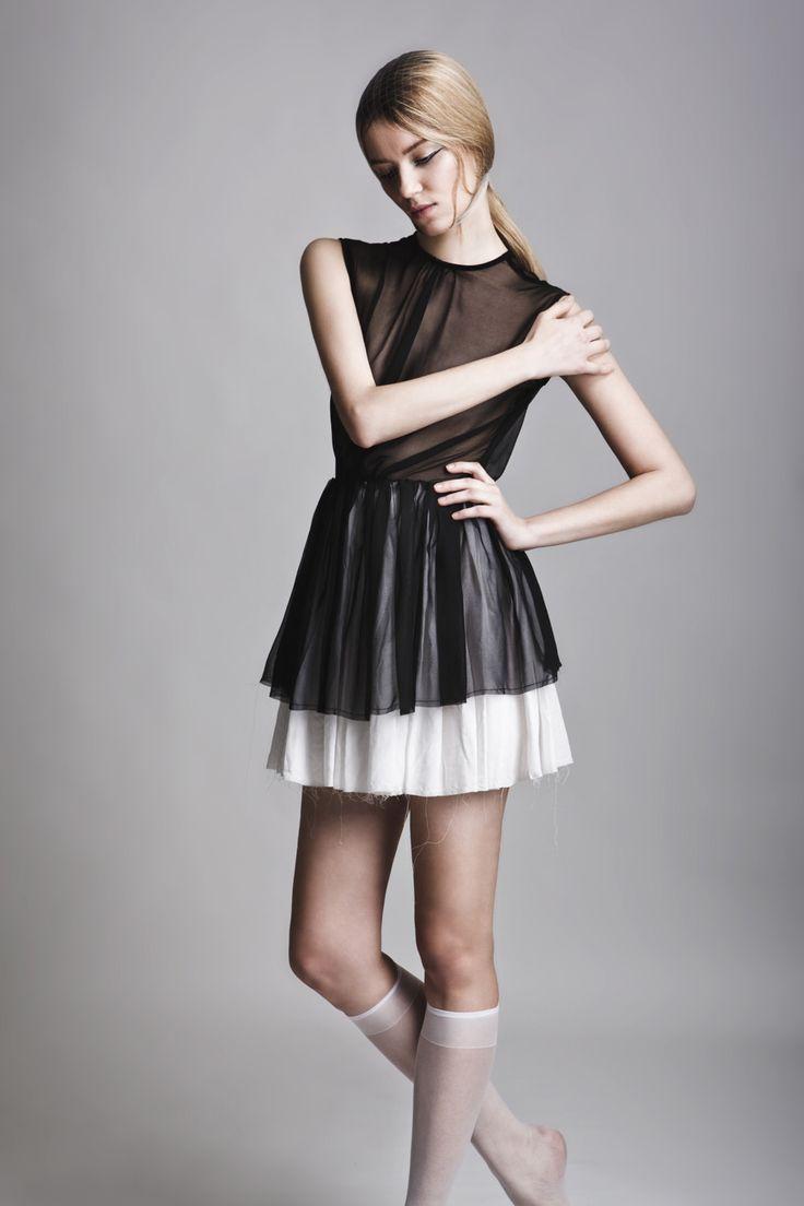 Clothes: Vassiliki Charitou SS15 Photographer: Vasilis Topouslidis Hair - Make up: Katerina Theofilopoulou  black and white dress