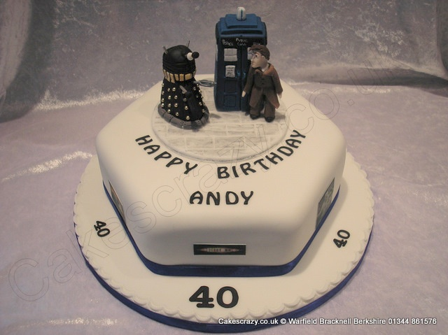 Dr Who Cake. Dr Who themed cake with a modelled Dr Who not forgetting the Tardis and Dalek