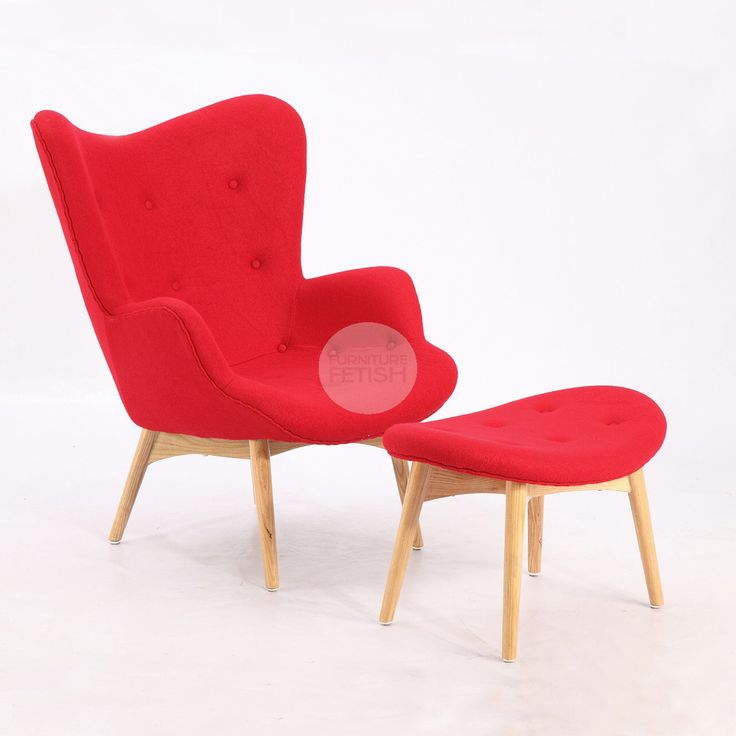 Replica Grant Featherston Chair & Ottoman - R160 Contour Chair Red
