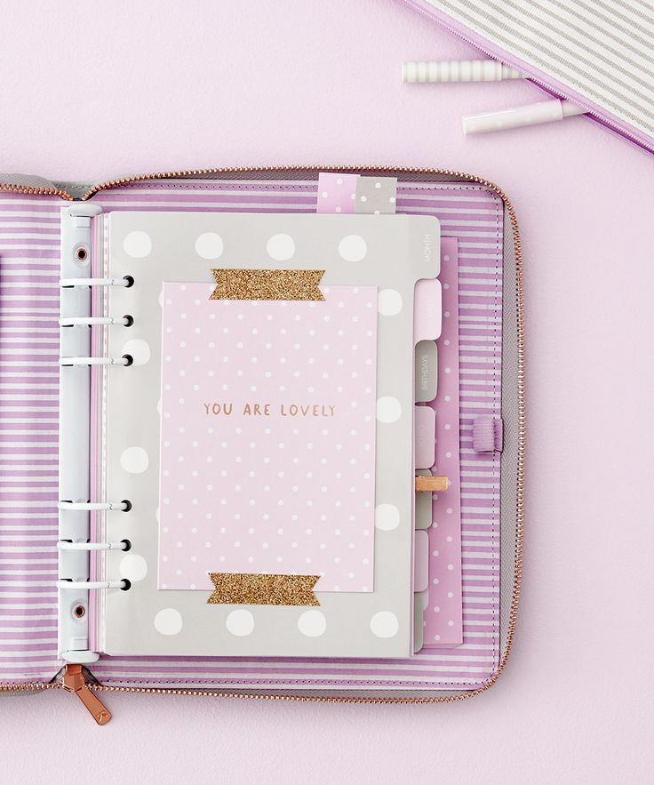 Embrace the kikki.K Planner love with this lilac leather planner with zip.
