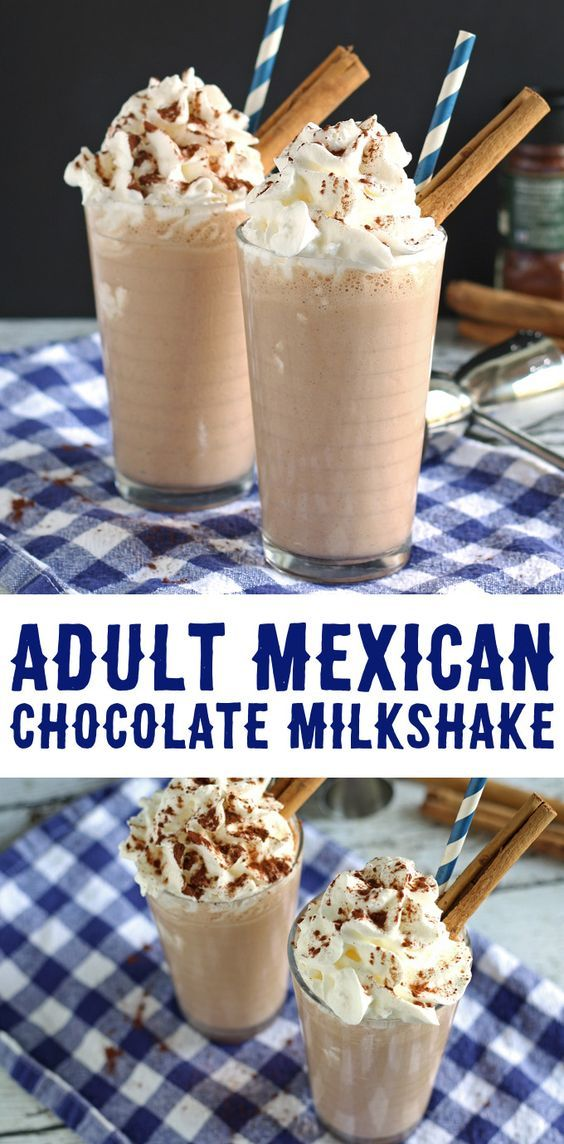 This adult Mexican chocolate milkshake recipe is a delicious blend of chocolate, cinnamon, chipotle chile powder and Cafe Patron! | honeyandbirch.com #cocktail