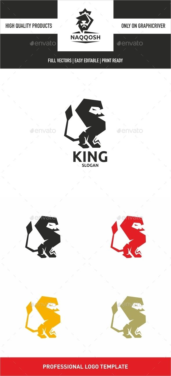 King — Vector EPS #lion head #strong • Available here → https://graphicriver.net/item/king/13630974?ref=pxcr