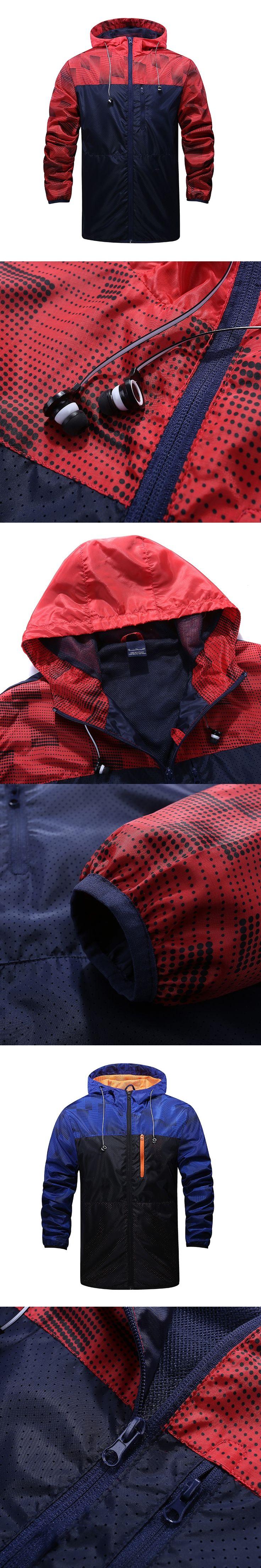 Spring And Fall Men's Windbreaker casual jacket zipper cardigan men Stitching hooded jacket men sportswear coat Free Shipping
