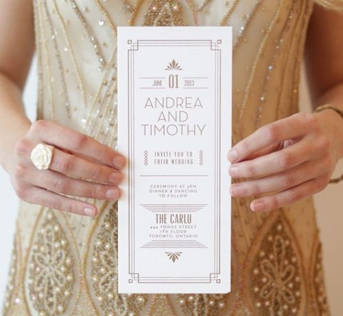 Gold and ivory wedding invites are both bridal and bold | http://vintagetearoses.com/vintage-1920s-art-deco-brides-wedding-inspiration/ | via Eternal Bridal