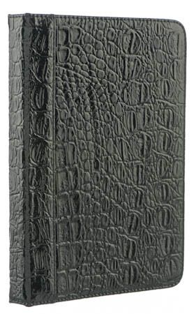 Crackled black Leather.   EreadersRus  - M-edge Go! Jacket for Kindle, Kobo Touch and Sony PRS T2, AUD34.95 (http://www.ereadersrus.com.au/m-edge-go-jacket-for-kobo-touch-and-sony-prs-t2/)