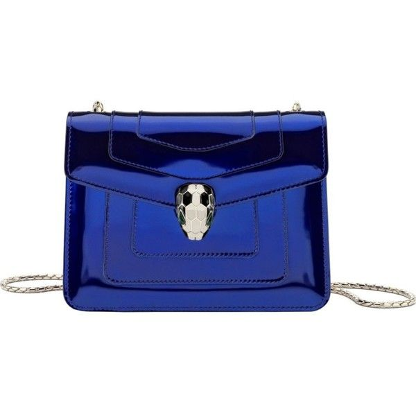 BVLGARI Serpenti Forever metallic-leather shoulder bag (£1,380) ❤ liked on Polyvore featuring bags, handbags, shoulder bags, royal sapphire, metallic purse, blue leather handbags, genuine leather shoulder bag, blue leather shoulder bag and fold over purse