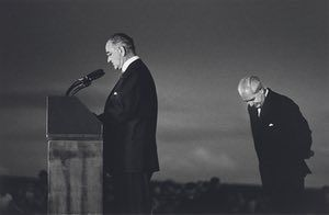 President Johnson and Prime Minister Holt at Canberra Airport, 1966